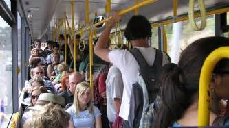 Crowded people on a bus